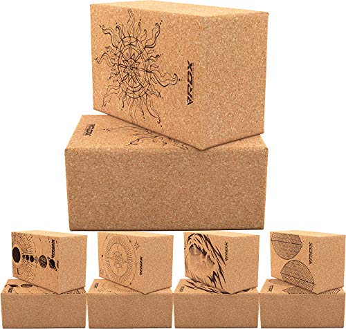 RDX Yoga Cork Block Set, High Density Eva Schaumstoff Rutschfester Blöcke, Leichtes Yogaklotz für Körperbalance Kraftflexibilität Pilates Fitness Unterstützung Heim-Fitnessgeräte 22.5 x14.5x10.2CM