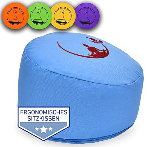 KlarGeist® ॐ ergonomisches Meditationskissen & Yogakissen, Halbmond-Buddha hellblau, Mittlere Sitzhöhe (17-18 cm)