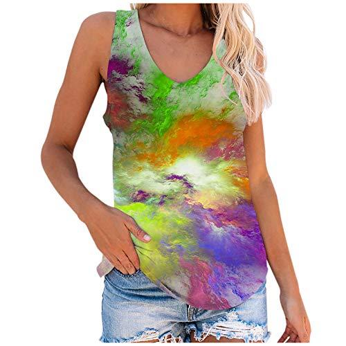 Oberteile Damen Sommer Locker, Teenager Mädchen Lustig Bunt Esel Schmetterling Katze Tier Tie-Dye Galaxy T-Shirts Frauen V-Ausschnitt Retro Animal Kurzarm Tshirt(02-Grün:XL)