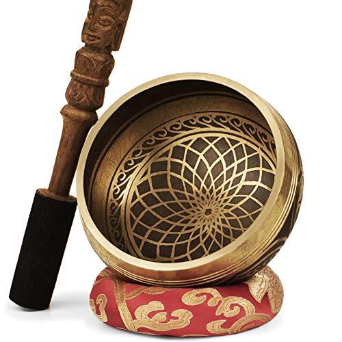 TARORO Tibetische Klangschalen Set aus Nepal- Große 13 cm. Graviert mit Handgeschnitzt Klöppel und Kissen...