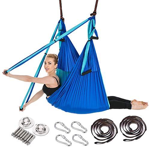 ARNTY Yoga Hängematte Set Aerial,Aerial Yogatuch,Aerial Yoga Hammock Swing mit Tragetasche und Verlängerungsgurten,Trapez Sling (Blau&Hellblau)