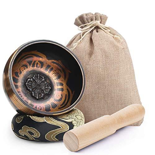 Koogel Tibetische Klangschale Set, 8cm Klangtherapie Singing Bowl mit Klöppel und Kissen für Entspannung...