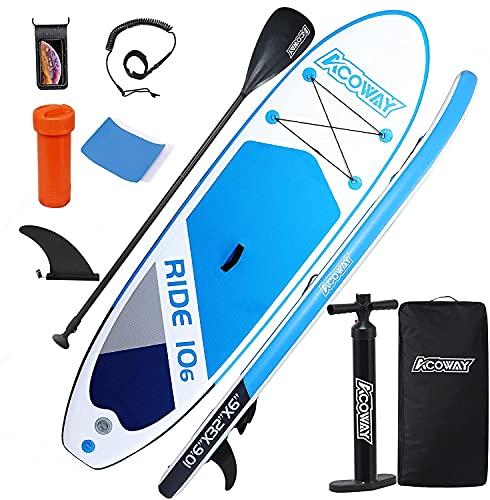 ACOWAY Aufblasbares Stand Up Paddle Board, 320 x 81.5/84 x 15 cm/Mit 180kg, Rutschfestes SUP Board Set Stand...