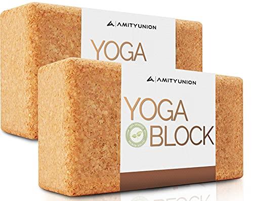 AMITYUNION DAS original Yogablock 2er Set - 100% Natur - Hatha Klotz auch für Anfänger Meditation & Pilates,...