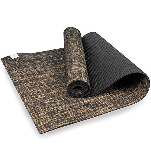 Myga RY1241 Jute Yogamatte – Leistungsstarke vegane Bodenübungsmatte – Umweltfreundliche, biologisch abbaubare Yogamatte mit PVC-Rückseite, 5 mm dick, schwarz