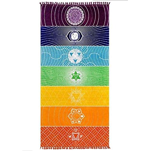 Amasawa 75cm*150cm Indische 7 Chakren Tapisserie Yoga Handtuch Regenbogen Strandtuch Teppich Handtuch Tapisserie Badetuch (Regenbogen)