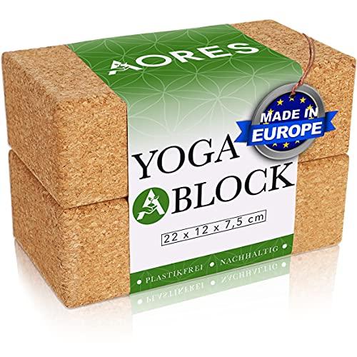 Aores Yoga Block Kork 2er Set - Ökologisch in Europa hergestellt - Plastikfrei und Vegan - Inklusive eBook - Yogablock Kork für Yoga, Fitness & Pilates