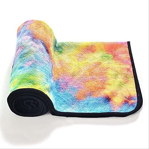 HHBB Yogamatte, rutschfeste Yoga-Decke, Pilates-Handtuch, schnelltrocknend, bedruckt, für Reisen, Sport, Fitness, 183 x 63 cm, Gelb