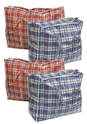 4 Stück Aufbewahrungstasche Einkauftasche Jumbo Tasche farblich Sortiert Gross