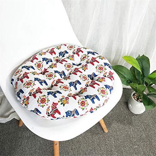 Runde Stuhlkissen Sitzkissen, Morbuy Nordische Moderne Atmungsaktiv Baumwolle und Leinen Tatami Mat Komfortable Stühle Bodenkissen für Outdoor Garten Möbel Sitzauflagen (40x40cm,Pferd)