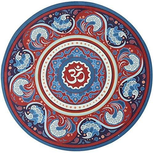 hsj LF- Yogamatte, runde Yogamatte, rutschfest, Naturkautschuk, verdickt, Haushaltsspielkissen, Decke, bedruckte Bodenmatte, Meditationsmatte, rutschfest (Farbe: 6)