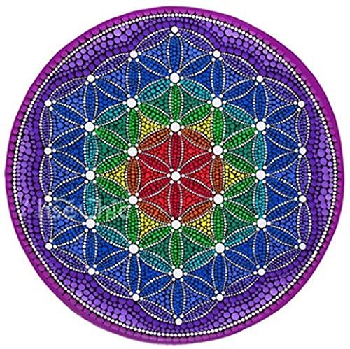 Teppiche Läufer Blume des Lebens Energie Runder, rutschfeste Weiche Schmutzabweisende Meditationsmatte Für Lebende Meditation Home Meditationskissen 3 Farbe ( Farbe : Tapis-2 , Größe : 80cm )