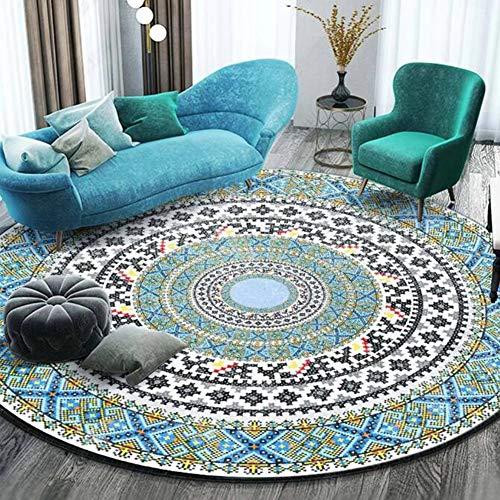 OUTGYM Vintage Runder Teppich Traditioneller Runder Teppich mit Blumenmuster im Böhmischen Mandala-Stil Marokko Design Wohnzimmer Teppich weiche Kurze Flormatte rutschfest Rot 120 x 120