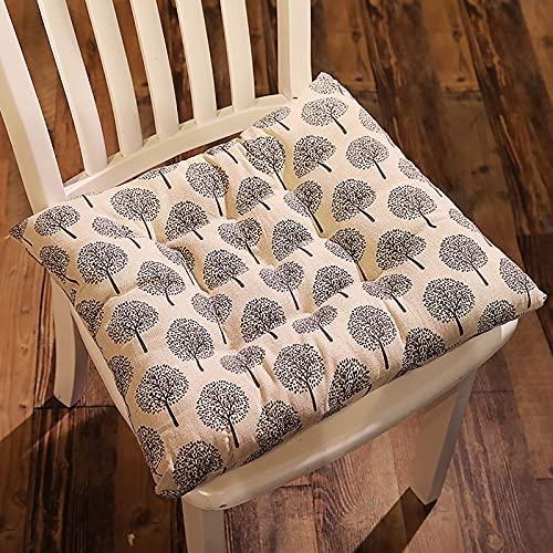 Baumwoll Leinen Sitzkissen, Quadratische rutschfeste Stuhlauflage Dicke Bequeme Dekorative Stuhlkissen Geeignet für Wohnzimmer Esszimmer Tatami