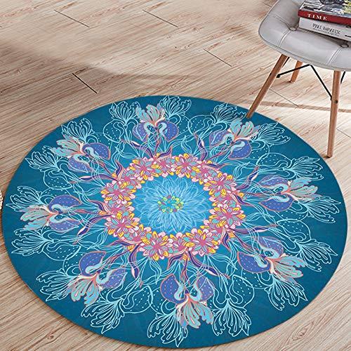 SXcarpet Garderobenteppiche Persian Floor Chair Matte und Teppiche Mandala Yoga Matte Rutschfester runder Teppich für das Wohnzimmer,Color,120CM