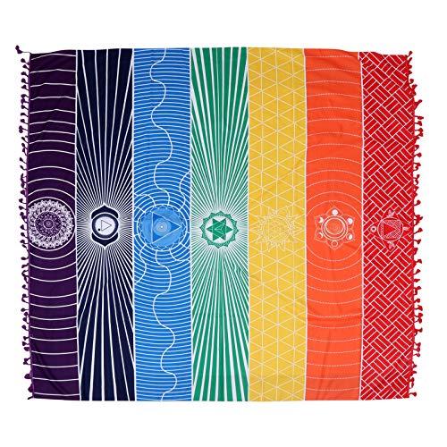 IMIKEYA Bunte Strand-Decke aus Polyester, Body-Handtücher, Bohemian-Stil, Yoga-Matte, Badezimmer-Wandteppich, rutschfeste Bodenmatte, Schlafzimmer-Wandteppich, Heimdekoration