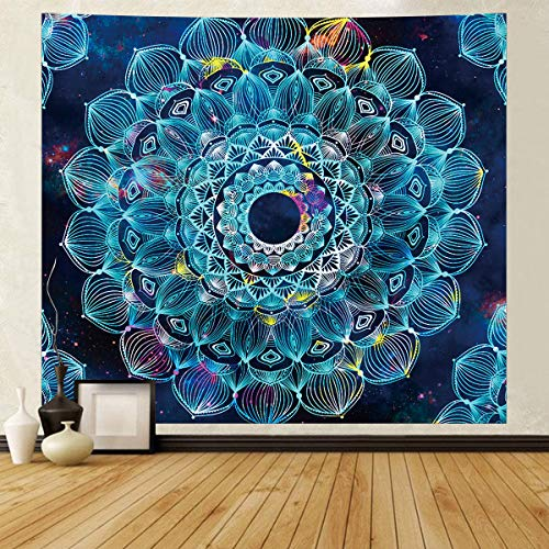 SHINY WENDY Mandala Wandteppich Wandbehang Böhmische Tagesdecke, Boho Decke/Überwurf Wandteppiche für Wohnzimmer, Wohnkultur (Blau, 130x150 cm)