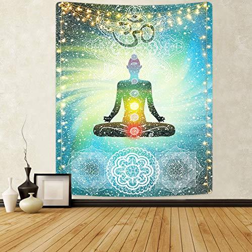 Maustic Sieben Chakra Wandteppich Mandala Wandteppich Hippie Wandteppich Psychedelic Yoga Meditation Tapisserie mit Sign Chakra für Schlafzimmer Wohnzimmer Dekor 150X130cm