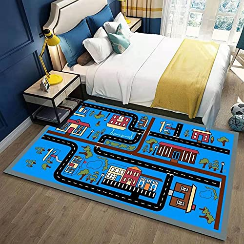 Nordic Kinder Hopscotch 3D Cartoon Bedruckte Teppiche für Wohnzimmer Kinder Spiel Kriechender Teppich Nachttisch Bodenmatte Waschbare Teppiche-B, 60x90cm