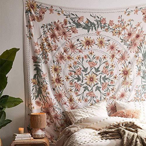 SROOD Beige Bohemian Tapisserie Wandbehang, Mandala Blumenmedaillon Hippie Tapisserie mit weißem ästhetischen Kranz Design, Navy Wanddekor Decke für Schlafzimmer Wohnheim, 150CM × 150CM