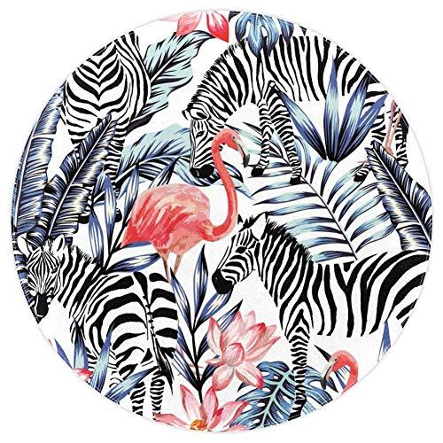 Bennigiry Exotic Pink Flamingo Zebra Weicher runder Bereich Teppich, Moderner Memory-Schaum rutschfeste Bodenmatten Waschbar Wohnzimmer Schlafzimmer Teppich für Kinder Spielzimmer Spielzimmer Spielteppich Kinderzimmerteppich Kinderzimmerteppich 152 cm