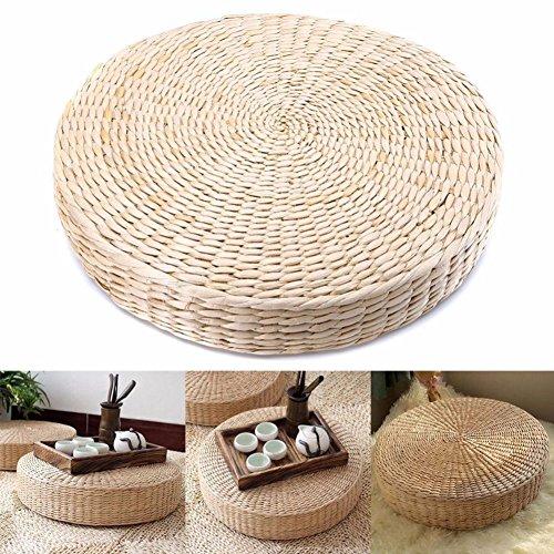 Mooouk Sitzkissen aus gewebtem Stroh, handgefertigt, rund, Tatami-Yoga-Bodenkissen, atmungsaktiv, japanisches Tatami-Bodenkissen, Meditationskissen für Zuhause, 40cm X 6 Cm, Free Size