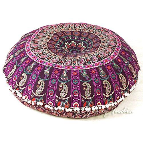 Eyes of India - 32' Bunt Runde Boden Meditation Kissen Sitz Überwurf Mandala Hippie Rund Bunt Dekorativ Indisch Boho Chic Hundebett Bohemian Akzent Handgefertigt Abdeckung
