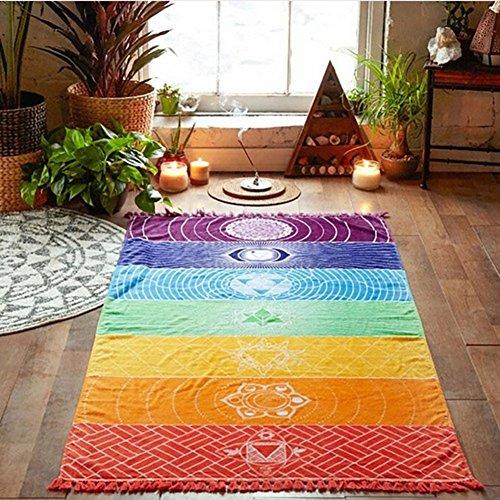 Bluelans Wandbehang, Regenbogen-Design, gestreift, Boho-Stil, auch geeignet als Strand-Handtuch / Yogamatte...