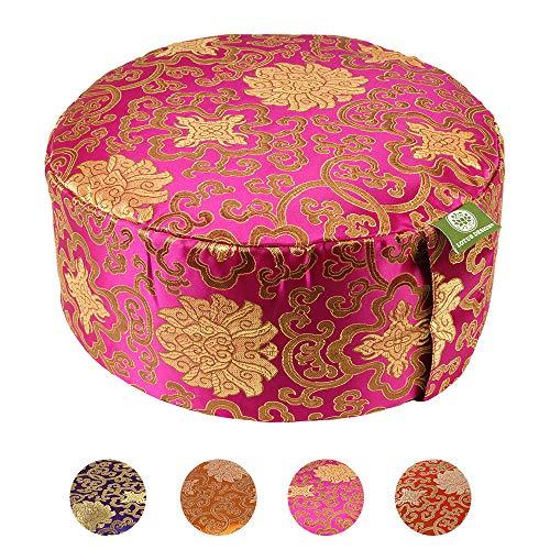 Lotus Design Meditationskissen/Yogakissen, Classic Brokat, 15 cm hoch, Bezug in Brokat-Design, waschbar, Yoga-Sitzkissen bunt mit Buchweizenschalen, sozial und fair hergestellt