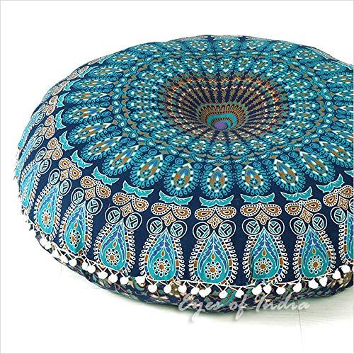 Eyes of India Mandala-Bodenkissenbezug, Meditationskissen, Sitzüberwurf, Hippie, rund, bunt, dekorativ,...