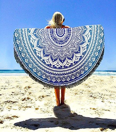 Überwurf, Strandtuch, Yogamatte, indisches Mandala, rund, Baumwolle, Tischdecke Strandtuch, runde Yogamatte, Schal, 182,9cm Strand Freizeit, Picknick blau