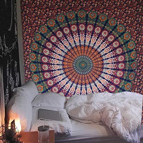 raajsee Mandala-Wandbehang, indische Baumwolle, Stranddecke, Hippie-Wandteppich, Boho-Dekor, Bohemian-Bettdecke, Yoga-Meditationsmatte, Teppich, 132 x 152 cm