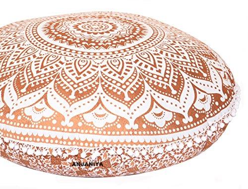 ANJANIYA - 81,3 cm Mandala-Boho-/Yoga-Meditationskissen, bequem, für Zuhause, Auto, Bett, Sofa, Couch, Sitzgelegenheit, großer Überwurf, Hippie, dekorativ, Ottoman, Boho, indisch (braunes Ombre)