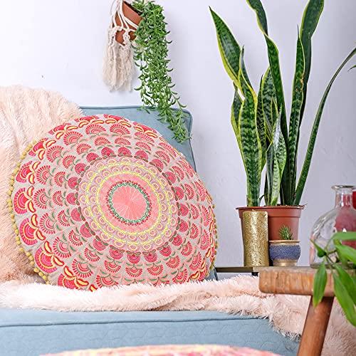 Mandala Life ART Böhmischer runder Kissenbezug - 60 cm - Akzentartikel für Ihr Wohnzimmer, Schlafzimmer, Sitzbereich - Bodenkissenbezug