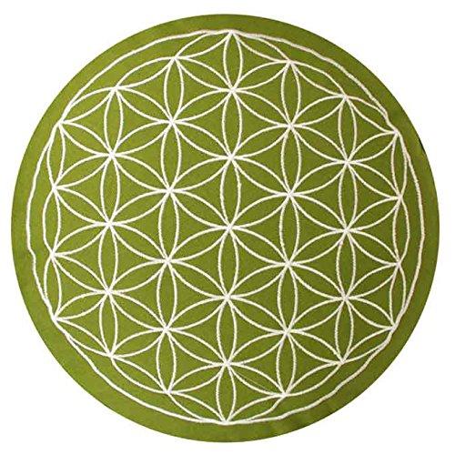 maylow Yoga mit Herz Yogakissen Meditationskissen mit Stickerei Blume des Lebens 33x15 cm für Anfänger und Geübte Bio-Dinkelspelz Füllung - Bezug und Inlett 100% Baumwolle (Olive)