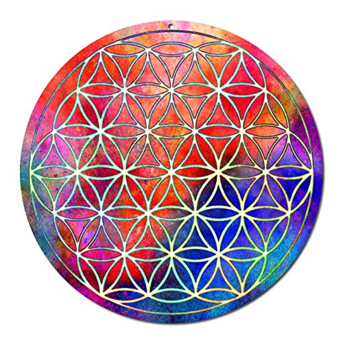 Sonnenfänger' Blume des Lebens'Nr 16.1 ø 20cm Schutz Symbol · Geschenk Dankeschön · Meditation Zubehör Yoga · Lebensblume Fensterbild · spirituelle Fensterdeko Glücksbringer · Suncatcher Acryl-Glas