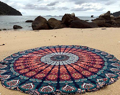 raajsee Indien Strandtuch Rund Mandala Hippie/Groß Indisch Rundes Baumwolle/Boho Runder Yoga Matte Tuch...