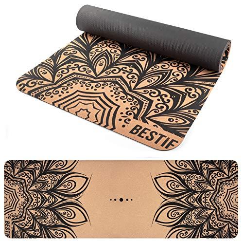 BESTIF Yogamatte aus Kork rutschfest Gymnastikmatte schadstofffrei 4mm Fitnessmatte TPE Korkmatte für Yoga Pilates Mandala 183x61x0,4cm