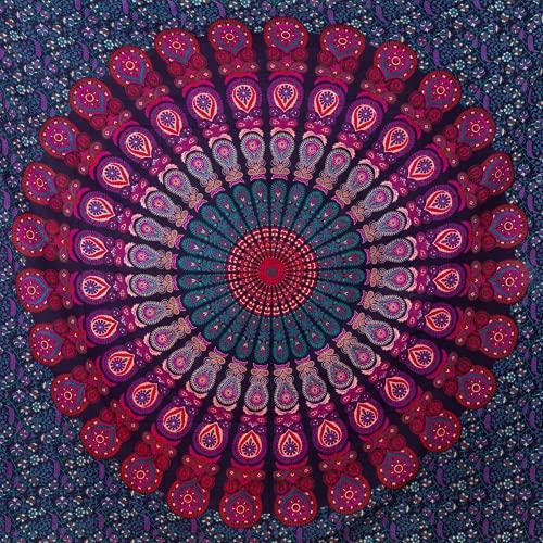 momomus Mandala Wandteppich - Großes Mandala Strandtuch - Pareo Tuch groß - 100% Baumwolle, Indian, Hippie, Boho, Bohemian (Lila, 210x230 cm)