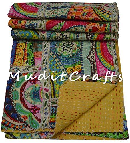 Indische handgemachte Tagesdecke für Doppelbett, 100 % Baumwolle, Kantha-Steppdecke, Multi-Patchwork-Decke (Multi Lace Patchwork)