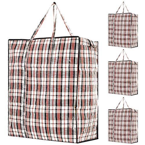 DECO EXPRESS Jumbo Tasche mit Reißverschluss, Aufbewahrungstasche Kleidung, Unterbett Aufbewahrungsbox für Kissen und Bettwäsche, Einkaufstasche Groß XXL 4er Pack, Laundry Bag Koffer