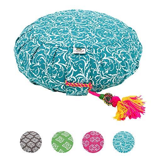 Lotus Design Meditationskissen/Yogakissen rund, ZAFU RAJA, 15 cm hoch, Bezug 100% Baumwolle waschbar,...