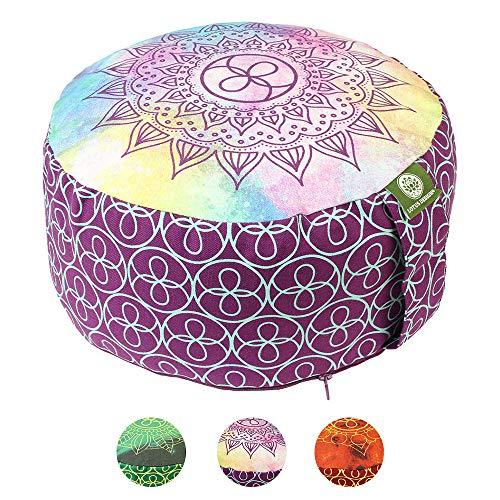 Lotus Design Meditationskissen/Yogakissen rund, Chakra Style, 15 cm hoch, Bezug 100% Baumwolle waschbar,...