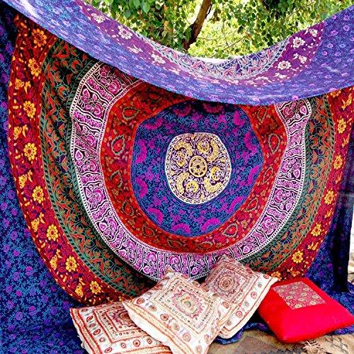 Tapisserie Mehrfarbig Geschenk Hippie Wandteppiche Mandala Bohemian Psychedelic komplizierte indische Wandbehang Bettwäsche Tagesdecke (Multi, 220 x 200 cms)